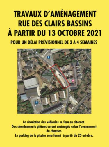 Travaux rue Clairs Bassins